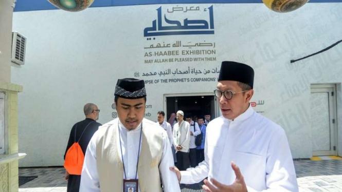 Menag Lukman Hakim Saifuddin saat mengunjungi pameran sejarah Sahabat Nabi