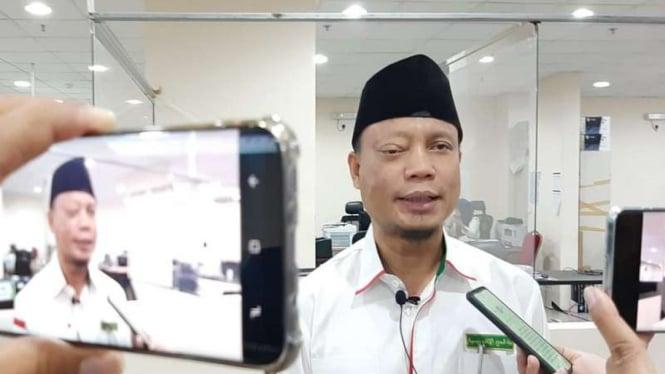 Kadaker Mekah Subhan Cholid saat jumpa pers di kantor Daker Mekah
