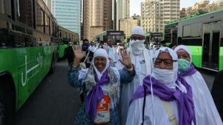 Jemaah kembali dilayani bus shalawat setelah puncak haji