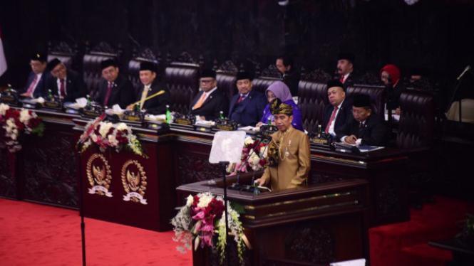 Presiden Joko Widodo saat membacakan Pidato Kenegaraan