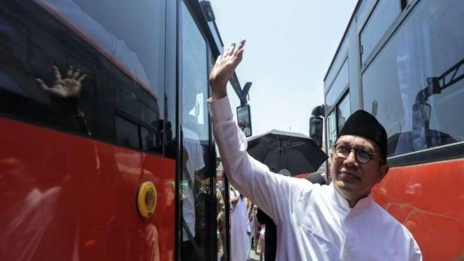 Menteri Agama Lukman Hakim Saifuddin di Terminal Syib Amir, Mekah