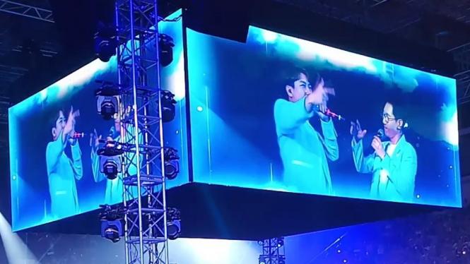 Yang Se Chan dan Ji Suk Jin dalam Jumpa Fans Running Man di Jakarta.