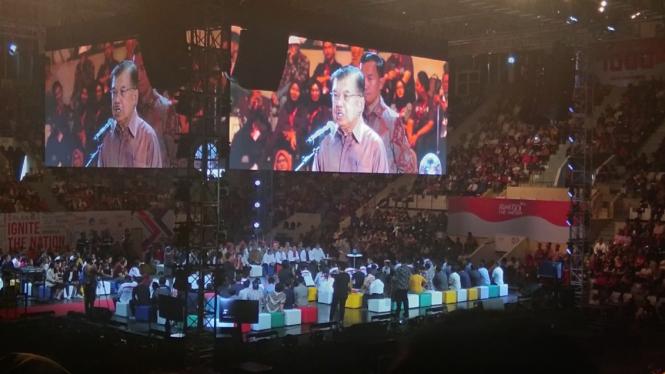 Wakil Presiden Muhammad Jusuf Kalla di acara Ignition, Jakarta, 18 Agustus 2019