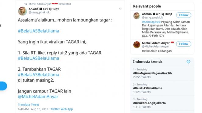 Tangkapan layar ajakan untuk memviralkan tagar #BelaUASBelaUlama
