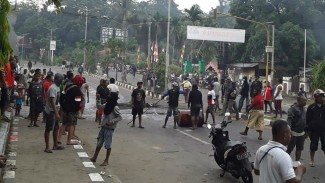 Kerusuhan di Manokwari, ibu kota Papua Barat, Senin, 19 Agustus 2019.