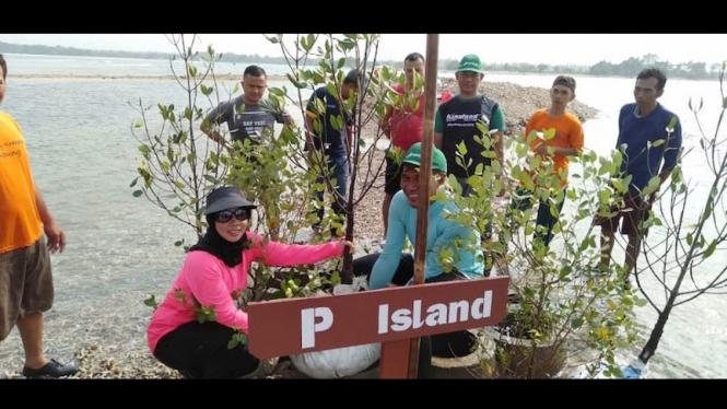 Kegiatan penanaman bakau (mangrove) di Pulau P oleh nelayan sekitar, Jumat (16/8).