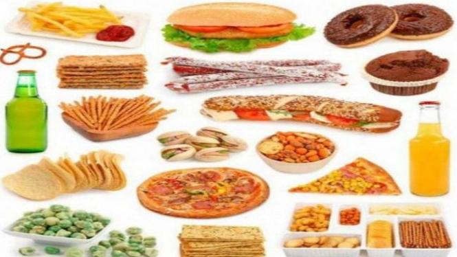 Ilustrasi makan-makanan olahan
