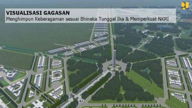 Gambar rencana pembangunan ibukota baru yang direncanakan di Kalimantan Timur.