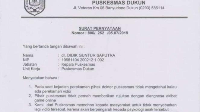 Surat dari Puskesmas Guntur, Muntilan.