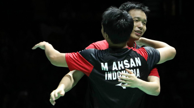 Ekspresi kemenangan Hendra Setiawan/Mohammad Ahsan