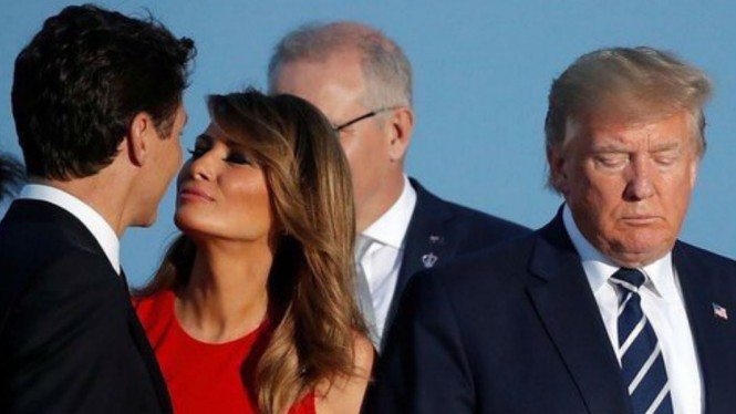 PM Kanada Justin Trudeau bersama Melania Trump, dan Presiden AS Donald Trump.