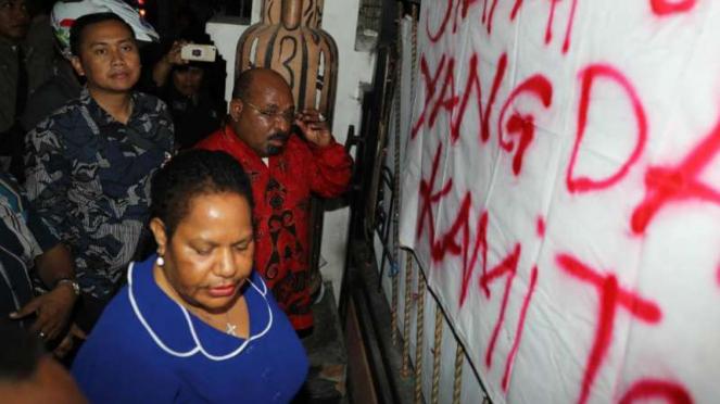 Suasana di Asrama Mahasiswa Papua di Jalan Kalasan Surabaya setelah didatangi ro