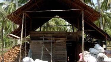 Proses pembuatan oven pengering kopra.