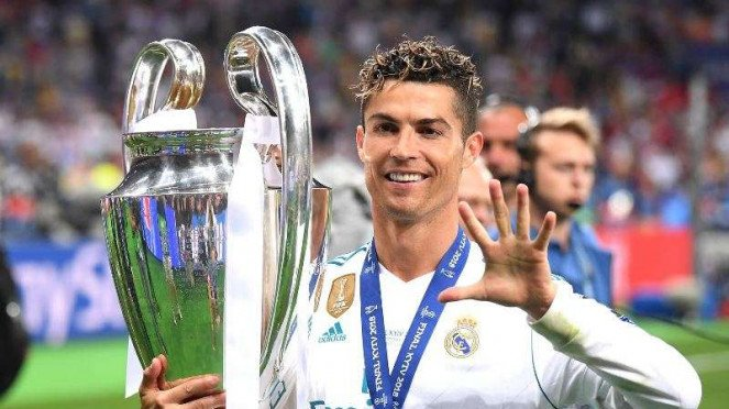 Cristiano Ronaldo saat membawa Real Madrid juara Liga Champions 2017/2018