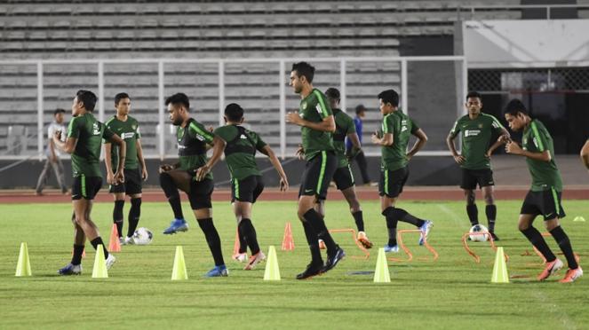 Pemain Timnas Indonesia dalam persiapan melawan Malaysia