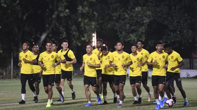 Timnas Malaysia saat berlatih di Lapangan A, Gelora Bung Karno, Senayan