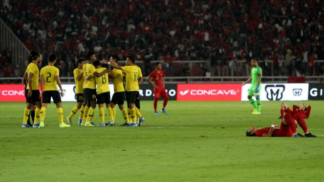 Timnas Indonesia takluk saat melawan Timnas Malaysia pada pertandingan Kualifikasi Piala Dunia 2022 Grup G Zona Asia di Stadion Utama Gelora Bung Karno (SUGBK), Senayan, Jakarta, Kamis 5 September 2019