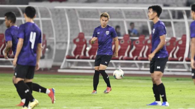 Latihan Timnas Thailand jelang melawan Indonesia.