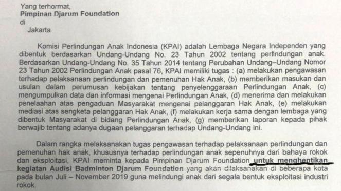 Isi surat teguran KPAI kepada Djarum Foundation terkait Audisi Umum Bulutangkis
