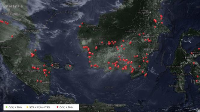 Hotspot karhutla berdasarkan citra satelit yang ditampilkan LAPAN