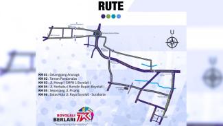 Rute yang direncanakan untuk kegiatan Boyolali Berlari 7K. (FOTO: Istimewa)