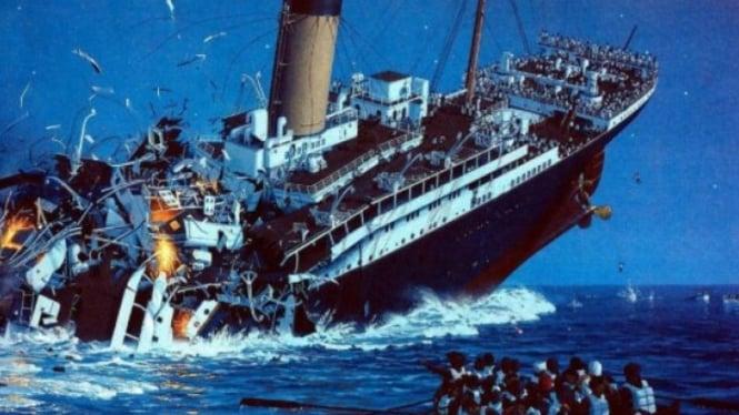 Ilustrasi kapal titanic tenggelam.