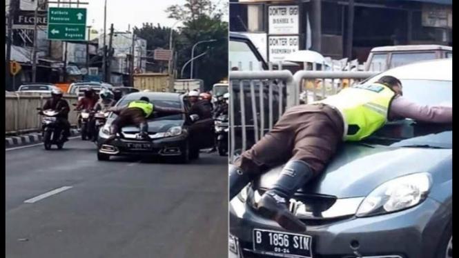 polisi di kap mobil