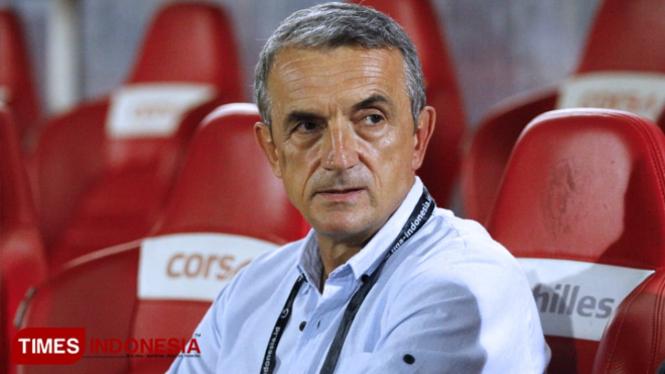 Pelatih Arema FC, Milomir. (Tria Adha/TIMES Indonesia)