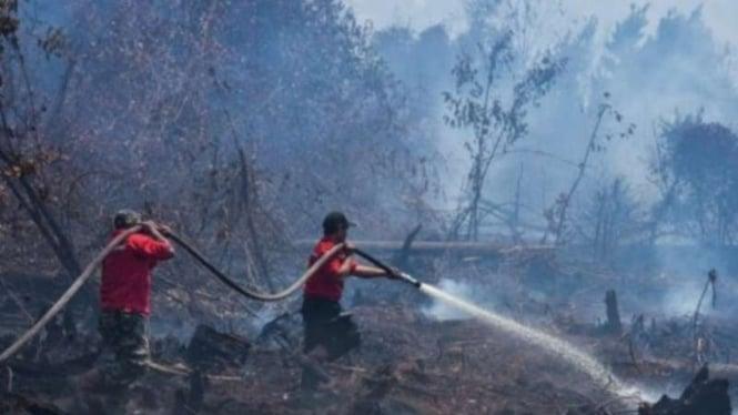 Ilustrasi pemadaman kebakaran hutan