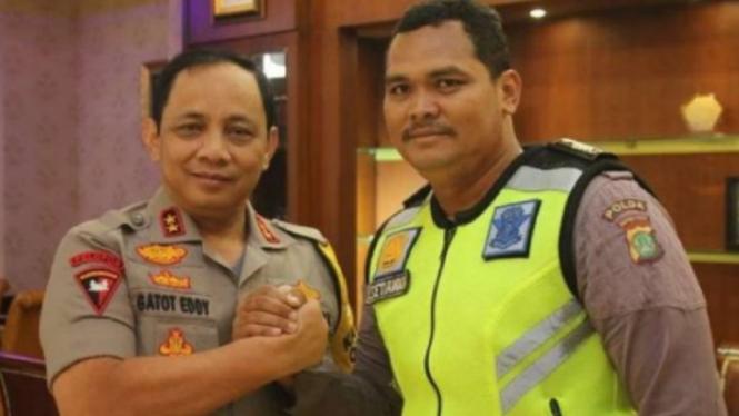 Bripka Eka Setiawan bertemu Kapolda Metro Jaya Gatot Eddy Pramono