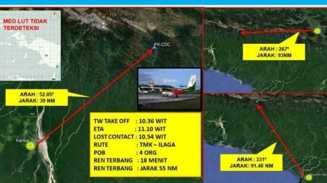 Peta hilangnya Carpediem Air di Papua.