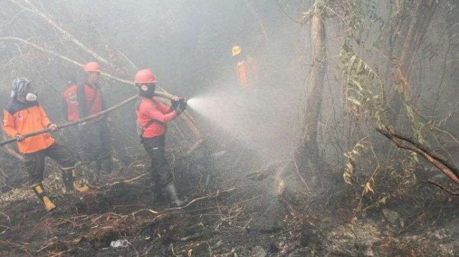Satgas Karhutla Riau terus berupaya melakukan pemadaman di tengah pekatnya asap kebakaran lahan gambut yang terbakar di Desa Rimbo Panjang, Kabupaten Kampar, Riau, Senin (16/9/2019). Kebakaran hutan dan lahan itu menyebabkan kabut asap.