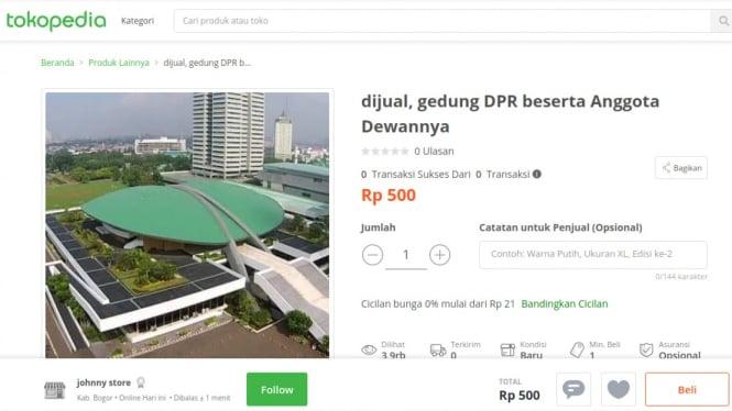 Gedung DPR dijual di Tokopedia