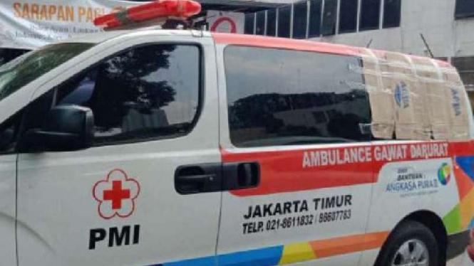 Satu dari delapan mobil ambulans di Polda Metro Jaya.