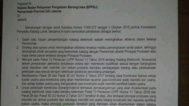 Surat permohonan BPPBJ DKI yang dilayangkan kepada LKPP