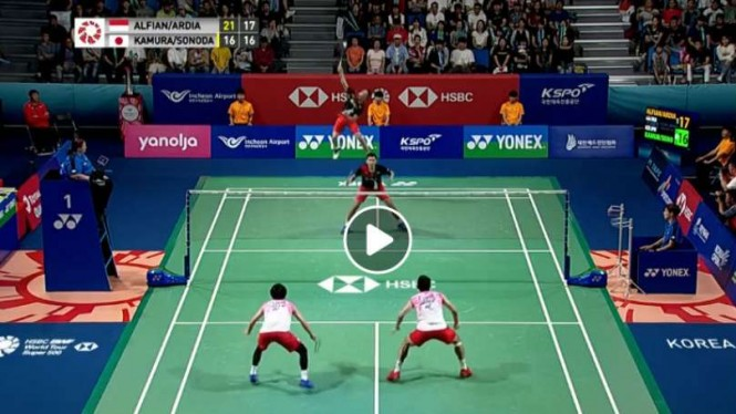 Video Duo Jepang Kocar-kacir Kena Smes Fajar/Rian di Final Korea Open