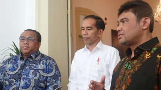 Said Iqbal dan Andi Gani saat bertemu Presiden Joko Widodo, di Istana Bogor.