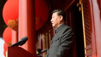 Presiden China, Xi Jinping  saat peringatan 70 tahun pemerintahan Partai Komunis