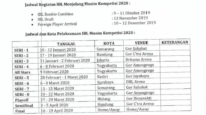Agenda kompetisi IBL musim 2020