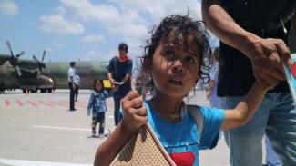 Pengungsi dari Wamena saat tiba di Bali, beberapa waktu lalu.