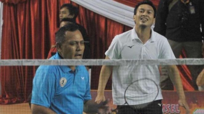 Mohamad Ahsan  dan Kepala Polda Sumatera Selatan, Irjen Pol Firli Bahuri