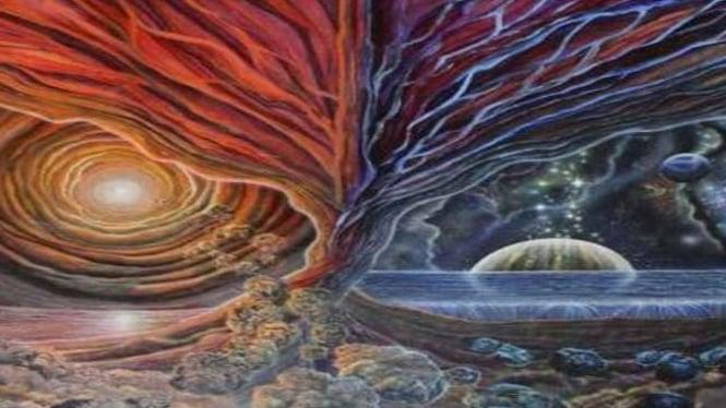 Ilustrasi lukisan abstrak alam semesta karya Sam del Russi
