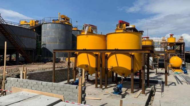 Fasilitas produksi Bumi Resources Minerals di proyek emas Palu