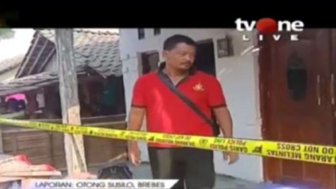 Rumah orangtua Fitria Andriana di Brebes dipasangi police line