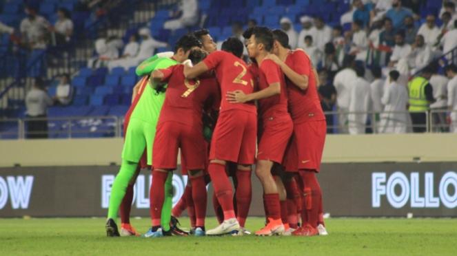 Timnas Indonesia saat menghadapi Uni Emirat Arab
