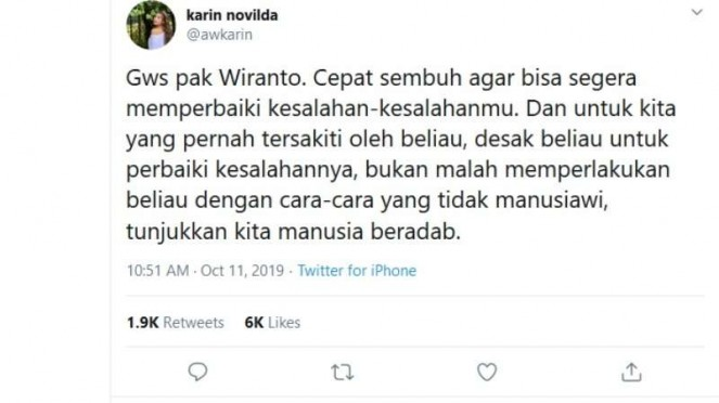 Pesan Awkarin untuk Menkopolhukam Wiranto