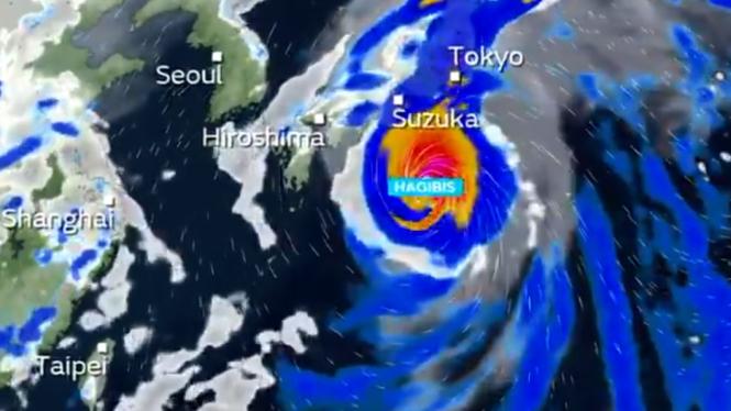 Ilustrasi Topan Super Hagibis melanda Jepang.