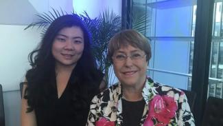 Veronica Koman telah bertemu dan berfoto dengan Komisioner HAM PBB, Michelle Bachelet di Australia.