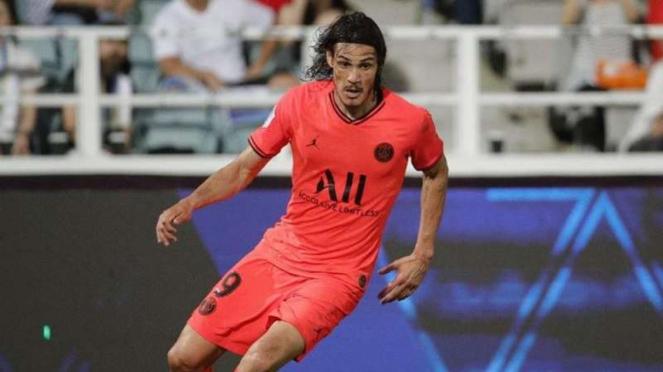 Penyerang baru Manchester United, Edinson Cavani, saat masih berseragam Paris Saint-Germain (PSG)