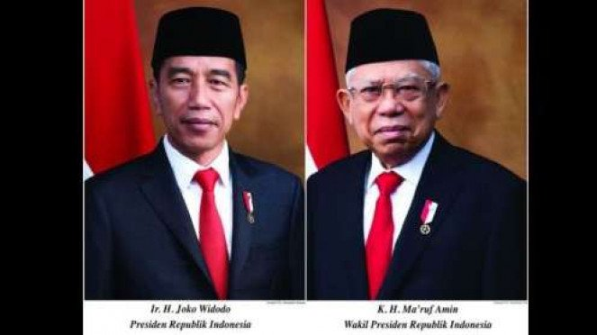 Foto resmi Presiden Joko Widodo dan Wakil Presiden Maruf Amin